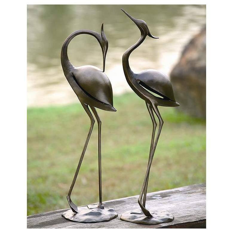 Stylized Garden Heron Aluminum Outdoor Statues Set of 2