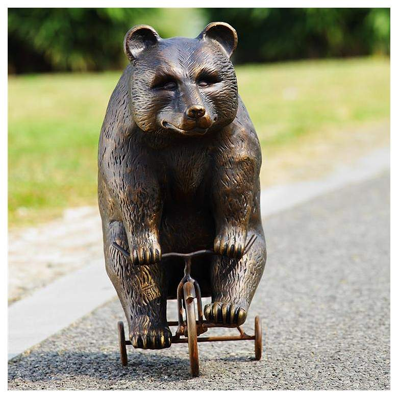 "Big Bear - Little Trike 23 1/2"" High Aluminum Garden Statue"