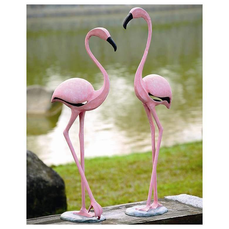 Pink Flamingo Aluminum Outdoor Garden Statues Set of 2