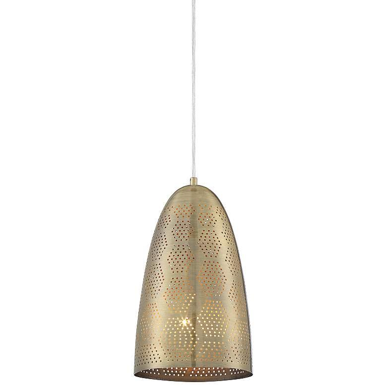 """Safi 8"""" Wide Antique Brass Moroccan Mini Pendant Light"""