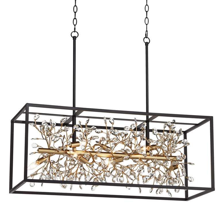 "Carrine 38 1/2""W Black and Gold Kitchen Island Light Pendant"