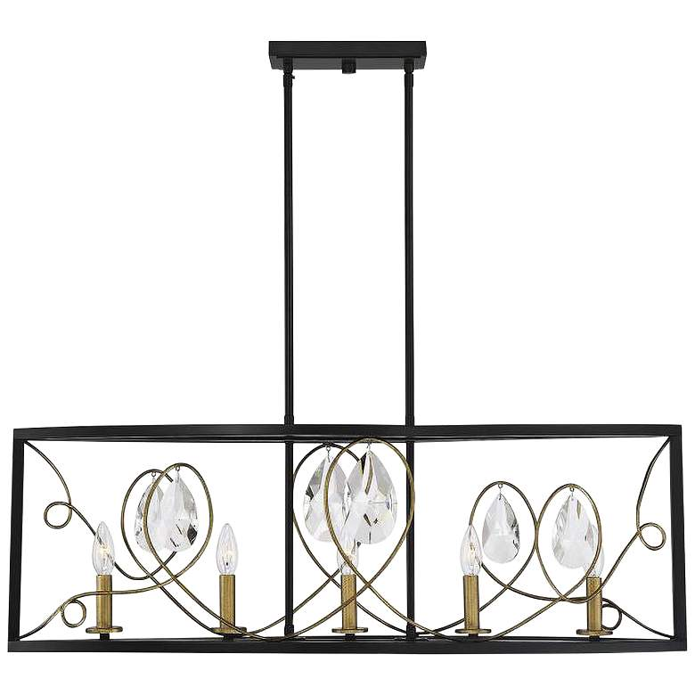 "Suave 38"" Wide Black and Gold 5-Light Island Chandelier"