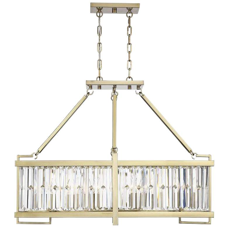 """Savoy House Cologne 36"""" Wide Noble Brass Island Chandelier"""