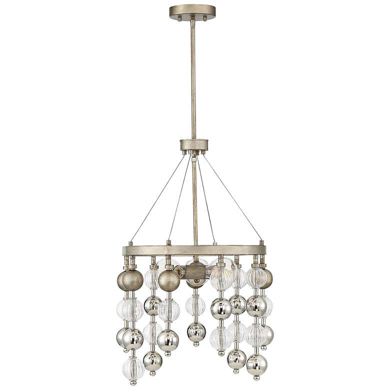 """Savoy House Droplet 18"""" Wide Argentum and Glass Chandelier"""