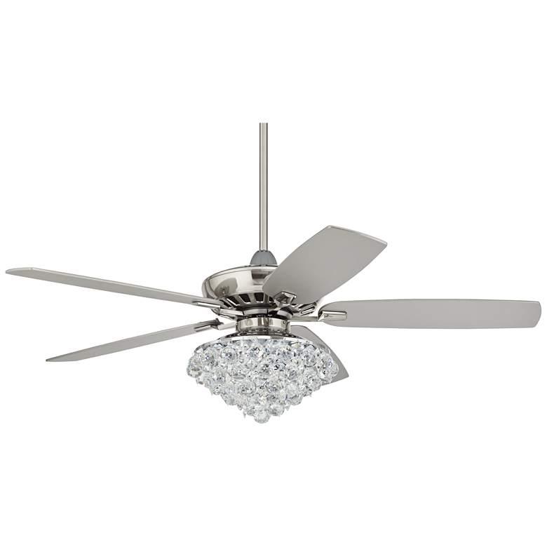 "52"" Casa Journey Brushed Nickel Crystal LED Ceiling Fan"