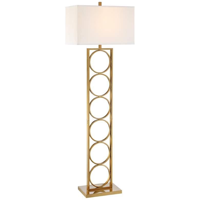 Possini Euro Perrine Warm Gold Column Floor Lamp