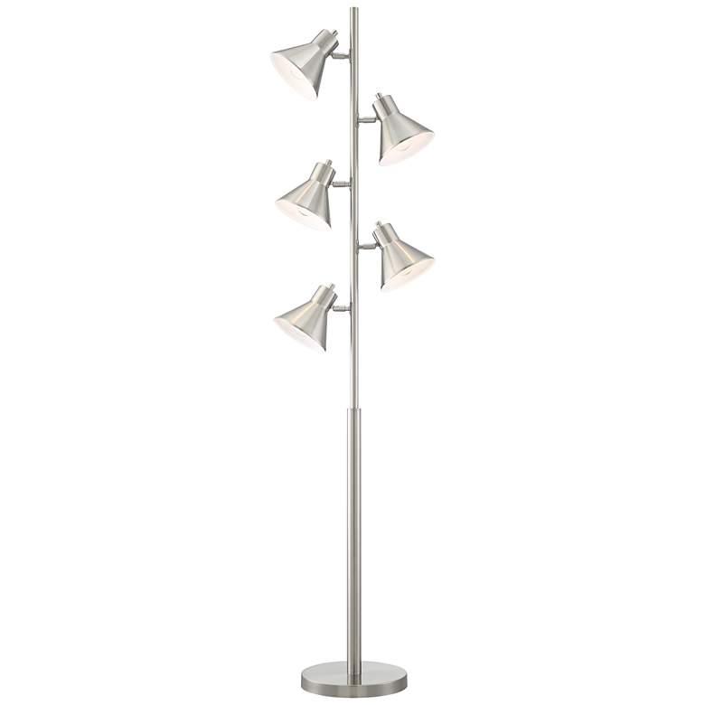 Luken Brushed Nickel Adjustable 5-Light Tree Floor Lamp