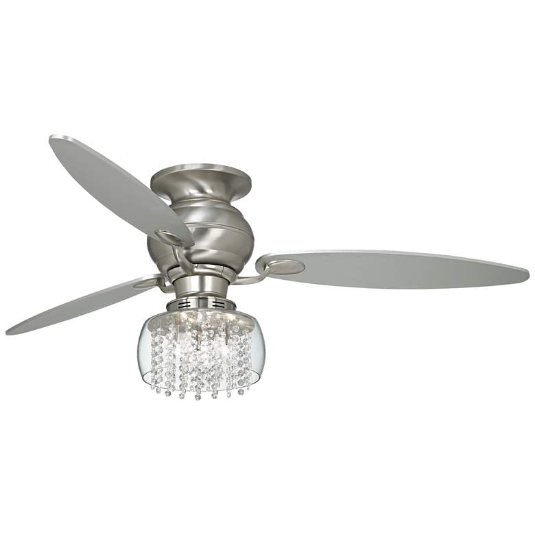 "60"" Spyder Nickel Crystal Rainfall Hugger LED Ceiling Fan"