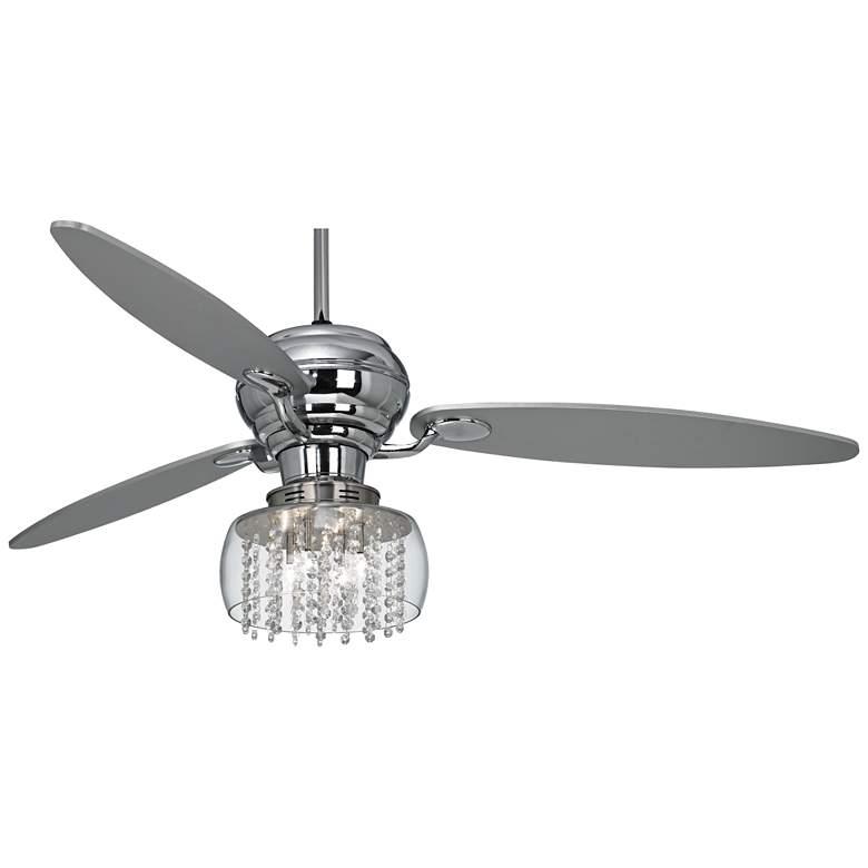 """60"""" Spyder™ Chrome Crystal Rainfall LED Ceiling Fan"""