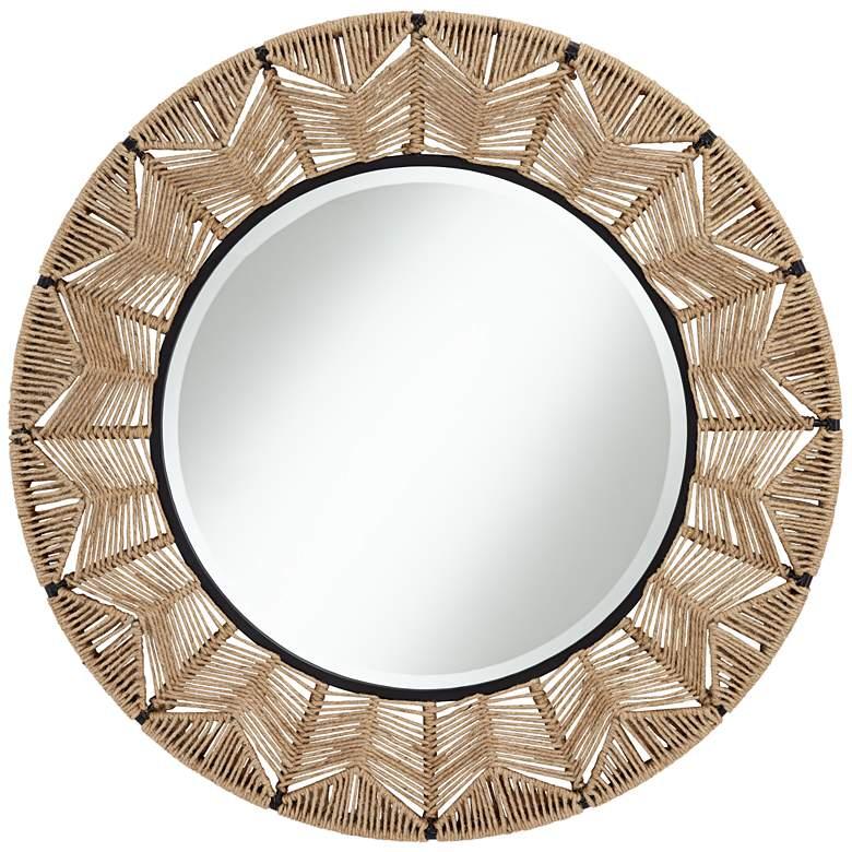 "Sonnie 35 3/4"" Round Geometric Rope Frame Wall Mirror"