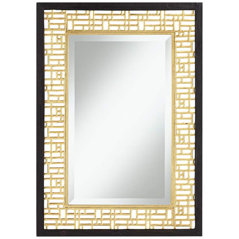"Freja  24 3/4"" x  34 3/4"" Gold Openwork Wall Mirror"
