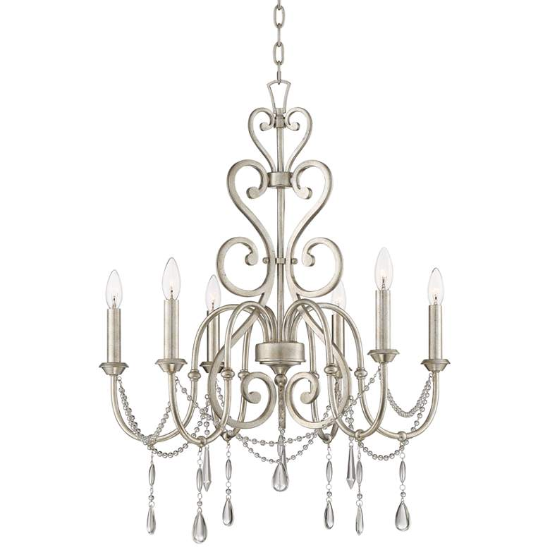 "Charlotta 27"" Wide Antique Silver Leaf 6-Light Chandelier"
