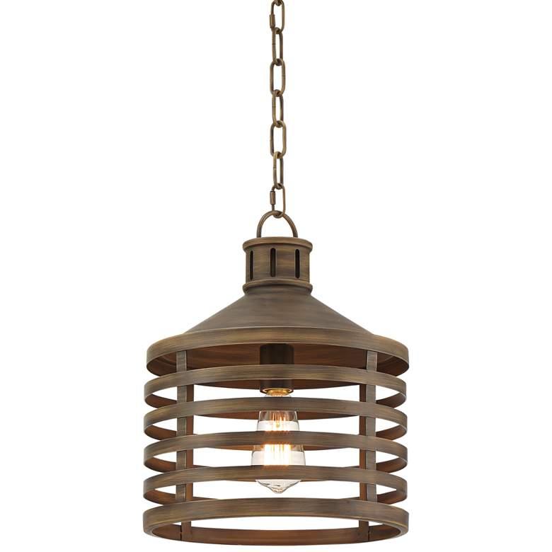 """Arundal 12"""" Wide Warm Walnut Wood Mini Pendant Light"""