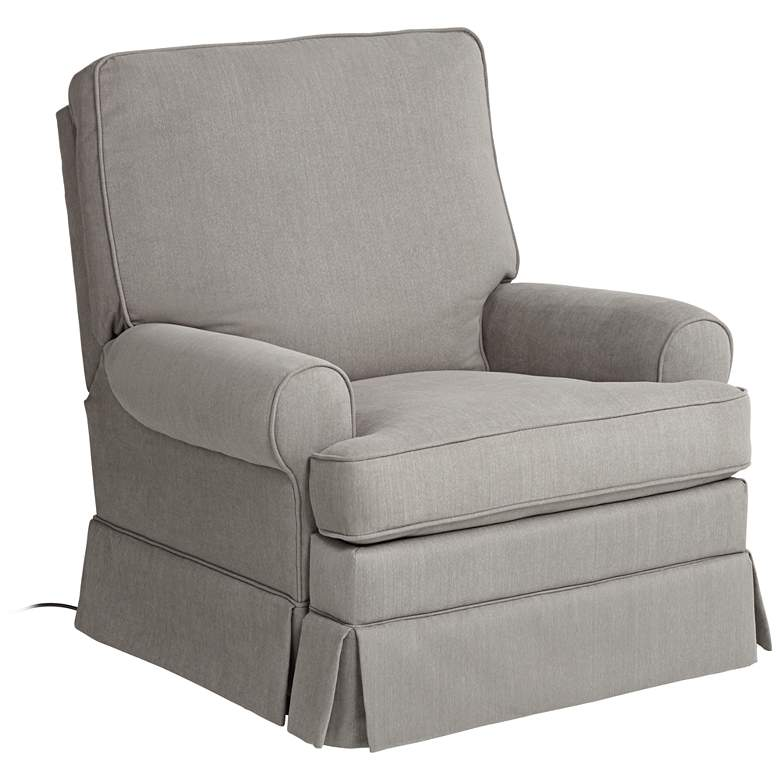 Peyton Slate Gray Glider Recliner Chair with USB Port