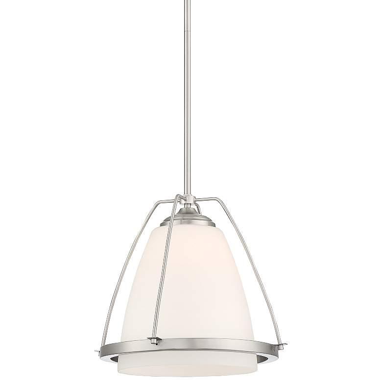 "Possini Euro Venetia 14"" Wide White Glass Mini Pendant Light"