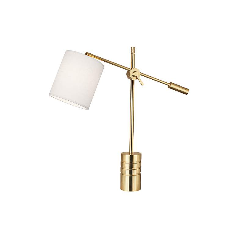 Campbell Modern Brass Adjustable Desk Lamp with Oyster Shade
