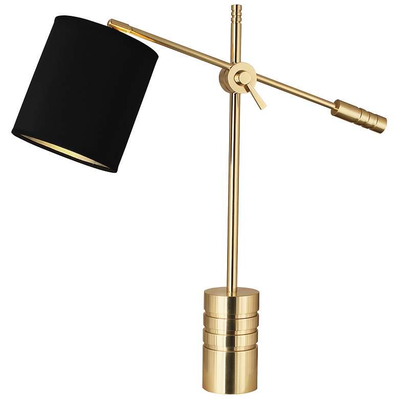 Campbell Modern Brass Adjustable Desk Lamp with Black Shade