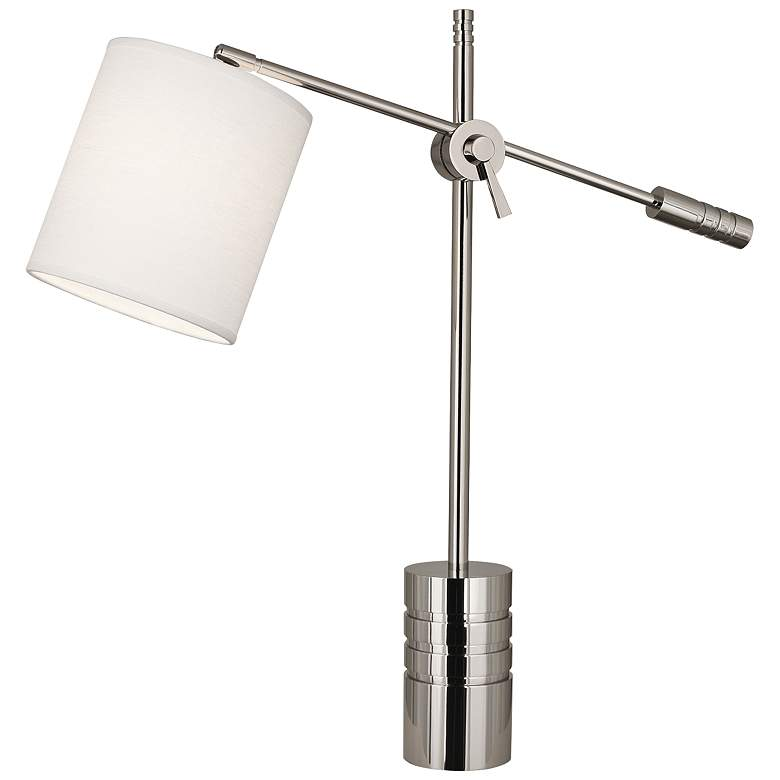 Campbell Nickel Adjustable Desk Lamp with Oyster Shade