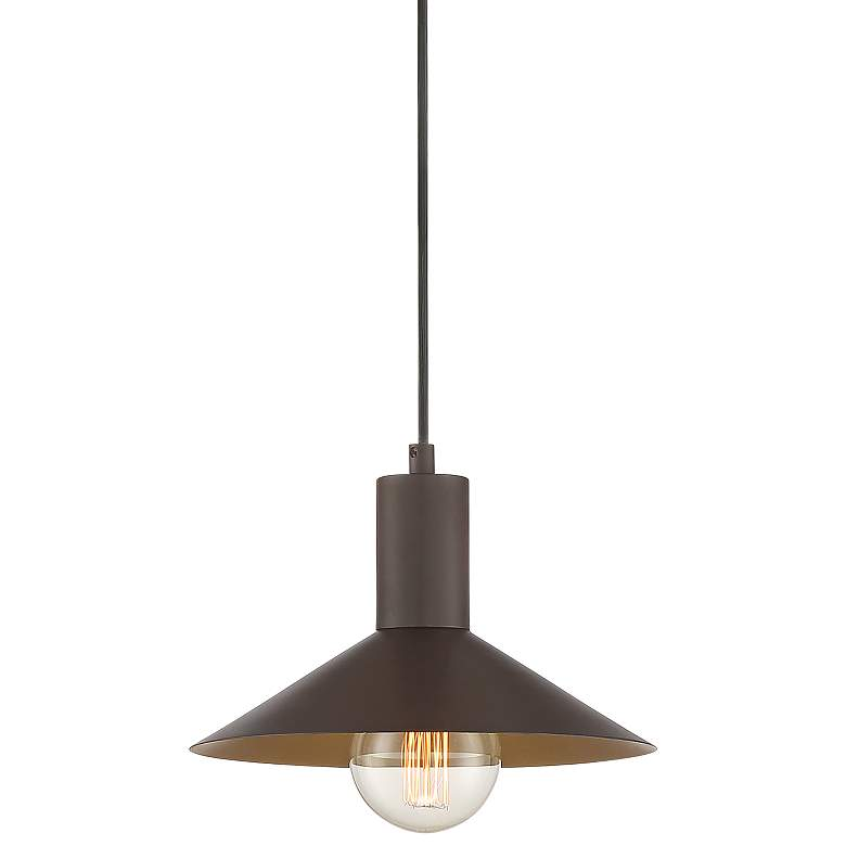 "Belaire 9 3/4"" Wide Bronze and Warm Brass Mini Pendant Light"