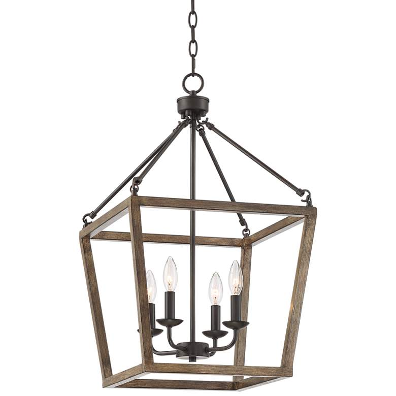"Astor 16"" Wide Bronze and Wood Grain 4-Light Entry Pendant"