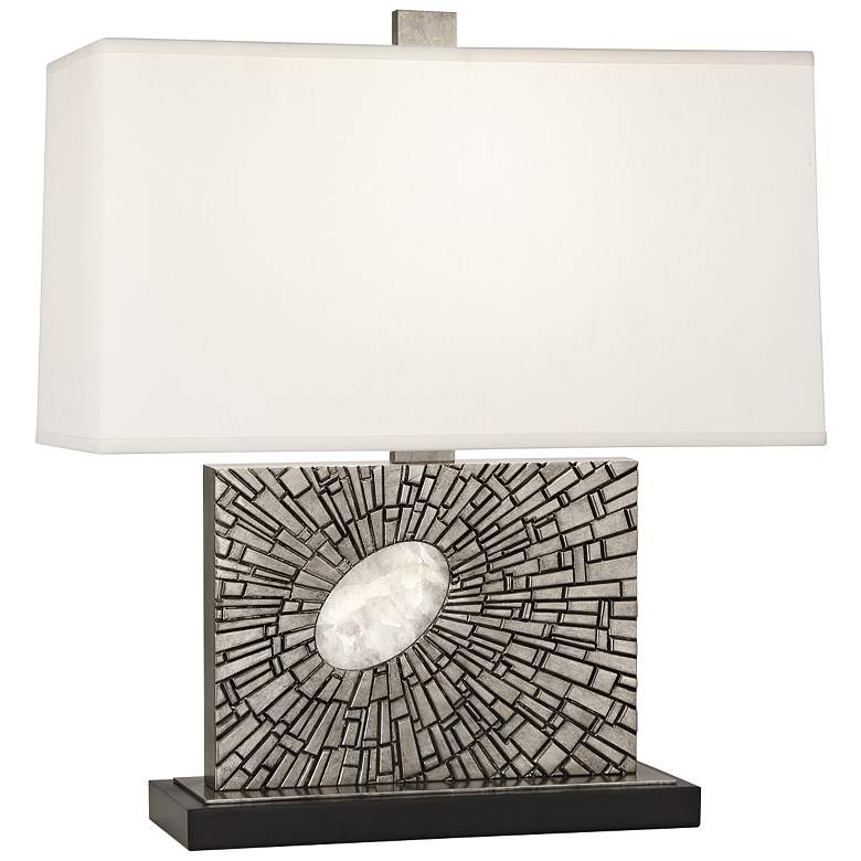 Goliath Polished Nickel Accent Table Lamp with Pearl Shade