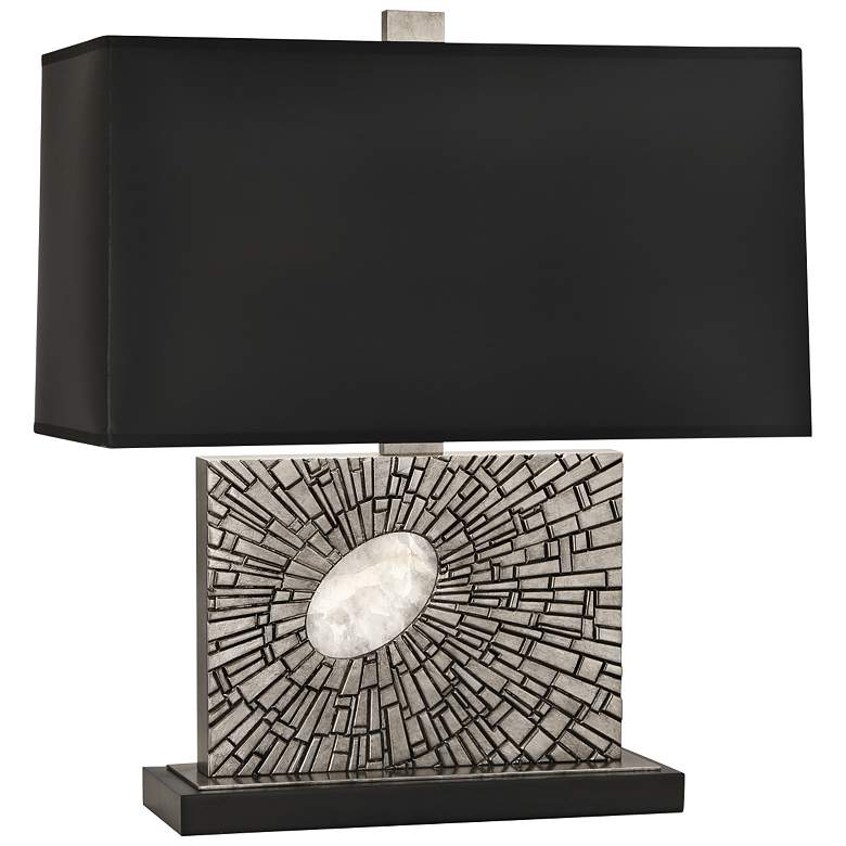 Goliath Polished Nickel Accent Table Lamp with Black Shade