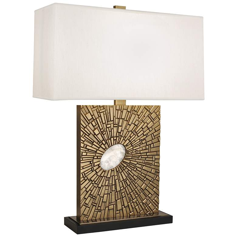 Goliath Antiqued Modern Brass Table Lamp with Pearl Shade