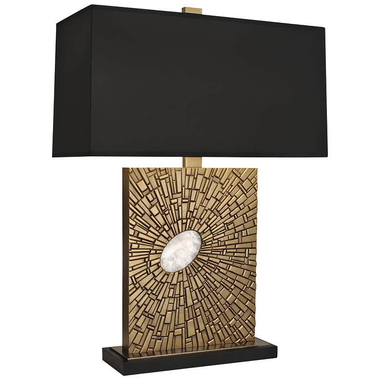 Goliath Antiqued Modern Brass Table Lamp with Black Shade