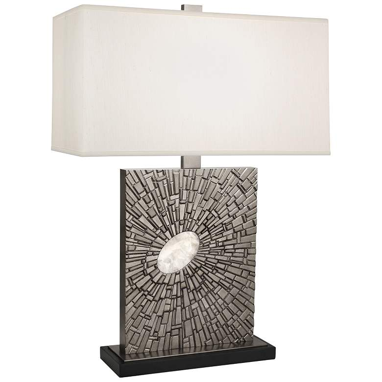 Goliath Antiqued Polished Nickel Table Lamp with Pearl Shade