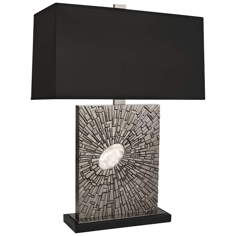 Goliath Antiqued Polished Nickel Table Lamp with Black Shade