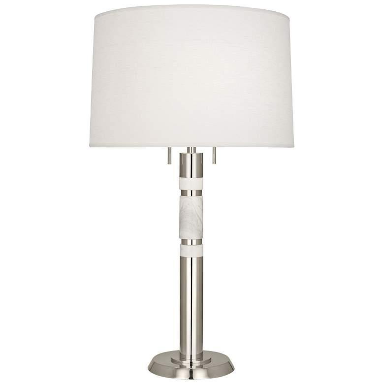 Robert Abbey Hudson Polished Nickel Column Table Lamp