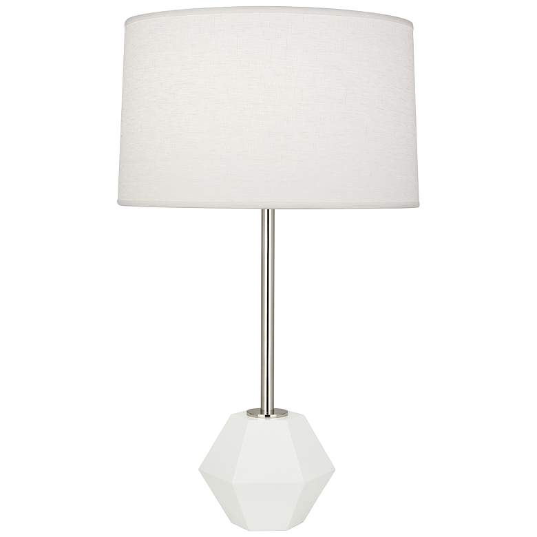 Robert Abbey Marcel Polished Nickel with White Table Lamp