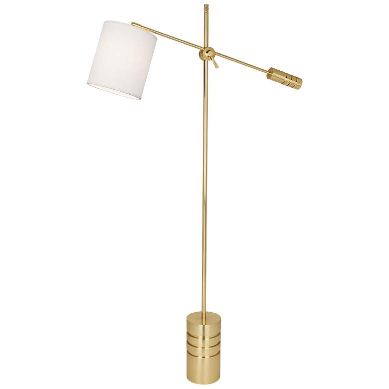 Campbell Modern Brass Adjustable Floor Lamp w/ Oyster Shade