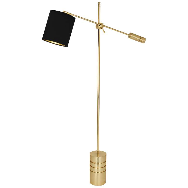 Campbell Modern Brass Adjustable Floor Lamp with Black Shade