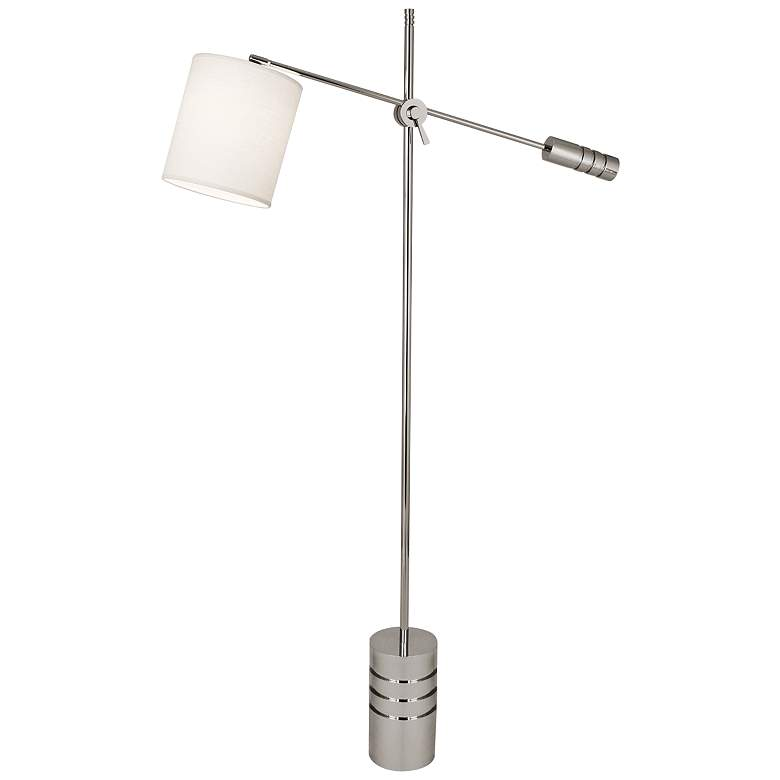 Campbell Nickel Adjustable Floor Lamp with Oyster Shade
