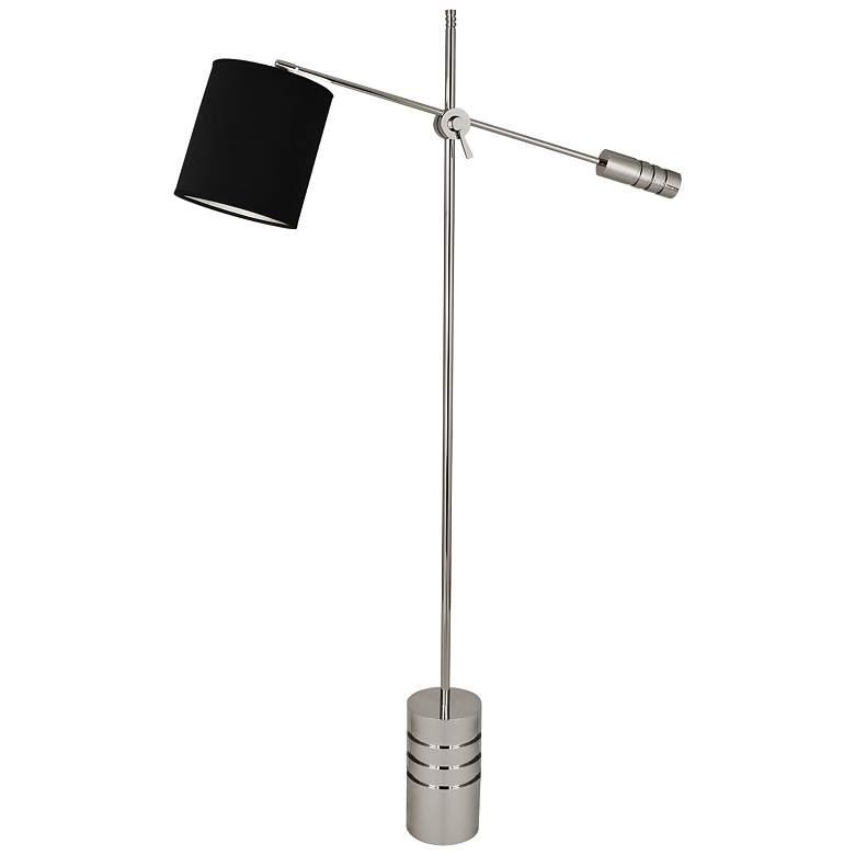Campbell Nickel Adjustable Floor Lamp w/ Anna Black Shade