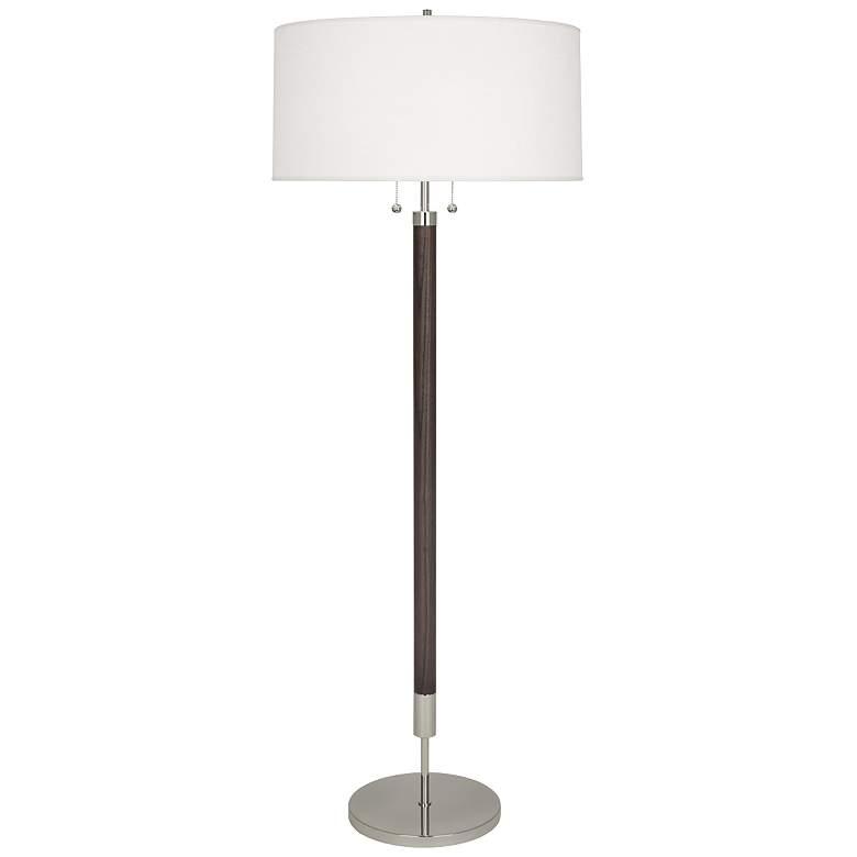 Robert Abbey Dexter Modern Nickel with Dark Walnut Floor Lamp