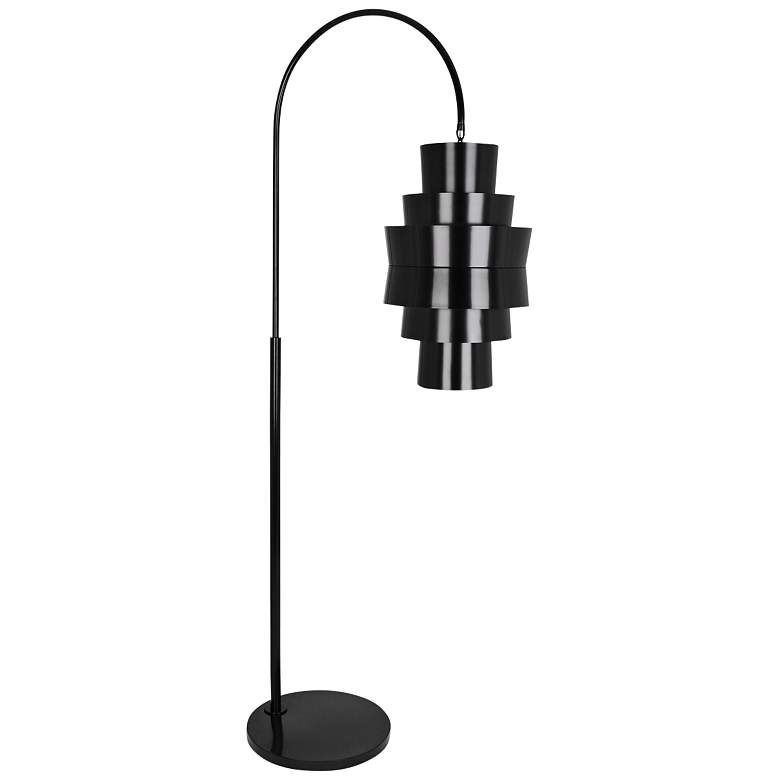 Robert Abbey Pierce Plated Black Metal Arc Floor Lamp