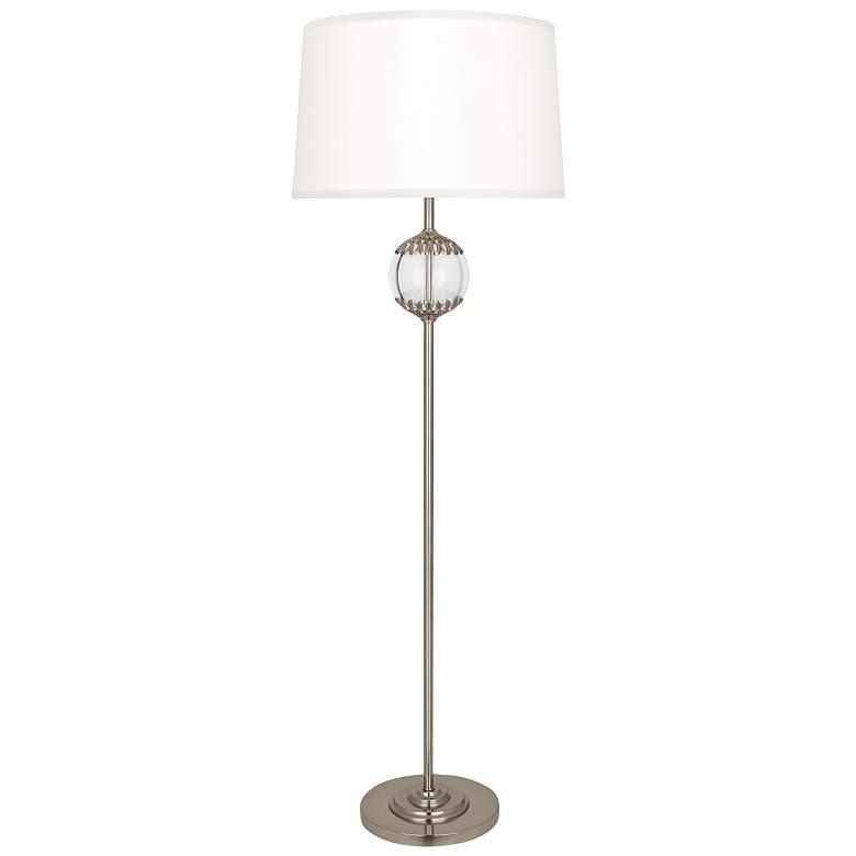 Robert Abbey Polly Antiqued Silver Metal Stem Floor Lamp