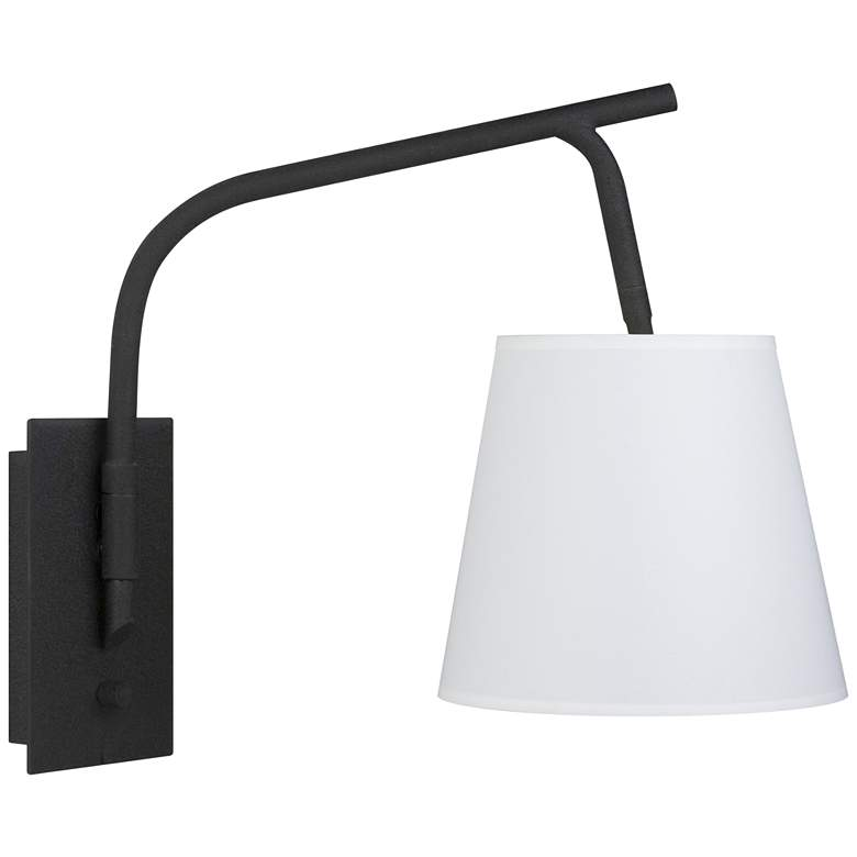 Walker Black Swingarm Wall Lamp with White Linen Shade