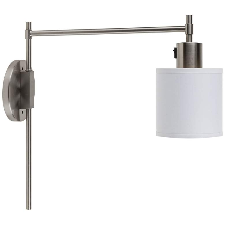 Walker Brushed Nickel Pin-Up Wall Lamp w/ White Linen Shade