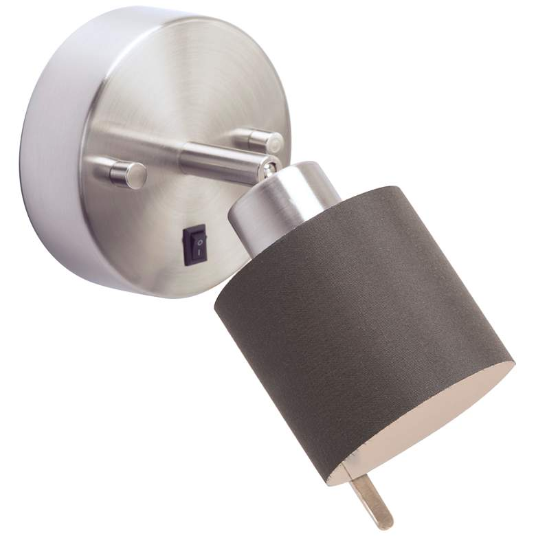 Guppy Brushed Nickel LED Wall Lamp w/ Black Silk Glow Shade