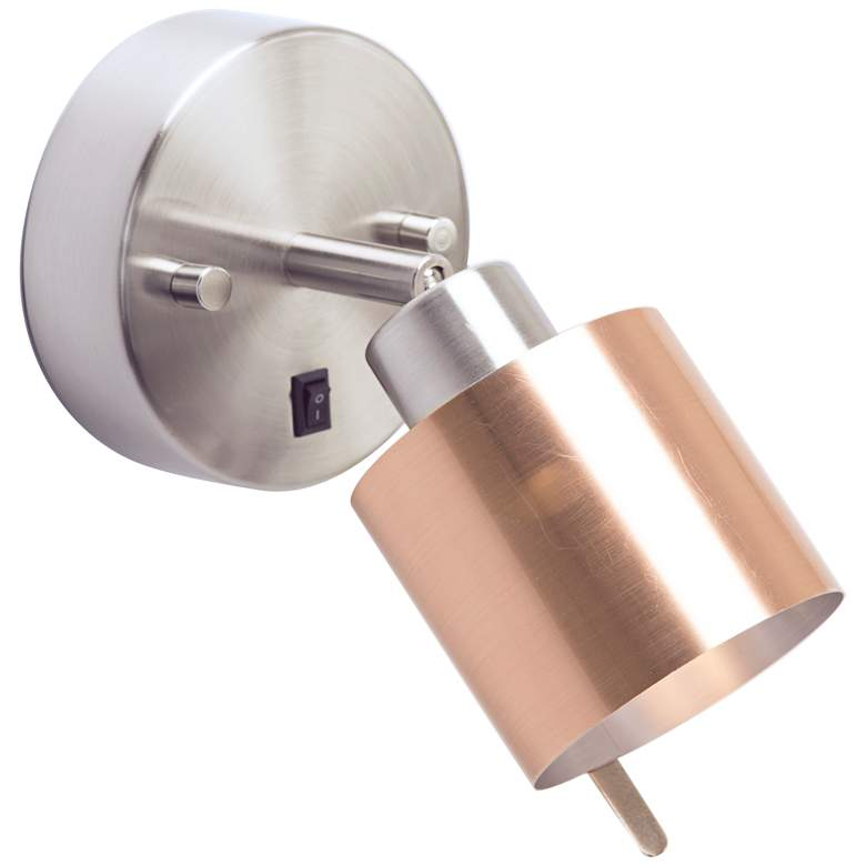 Guppy Nickel LED Wall Lamp w/ Brushed Copper Duotrans Shade