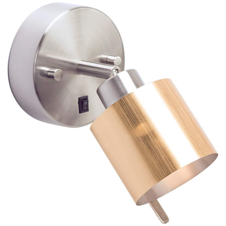 Guppy Nickel LED Wall Lamp with Brushed Gold Duotrans Shade