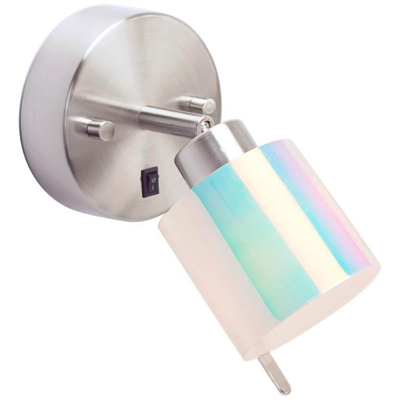 Guppy Brushed Nickel LED Wall Lamp with Opal Duotrans Shade
