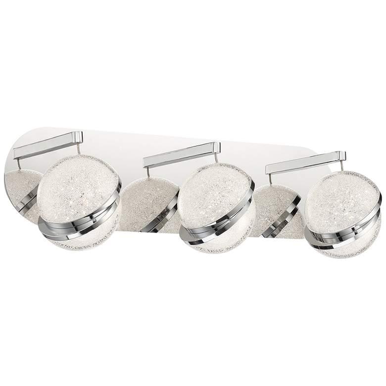 "Silver Slice 20 1/2""W Chrome Crystal 3-Light LED Bath Light"