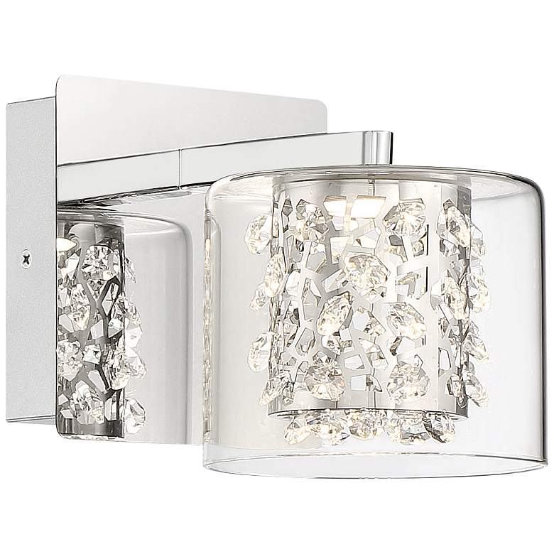 "Wild Gems 5 1/2"" High Chrome and Crystal LED Wall Sconce"