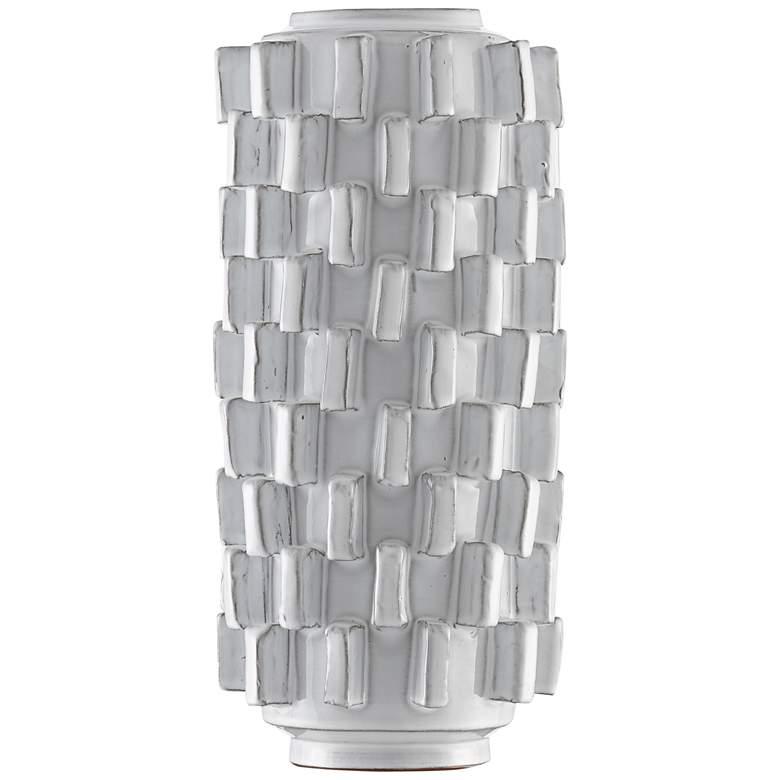 "Tomos 15 1/2"" High Ivory Finish Modern Terracotta Vase"