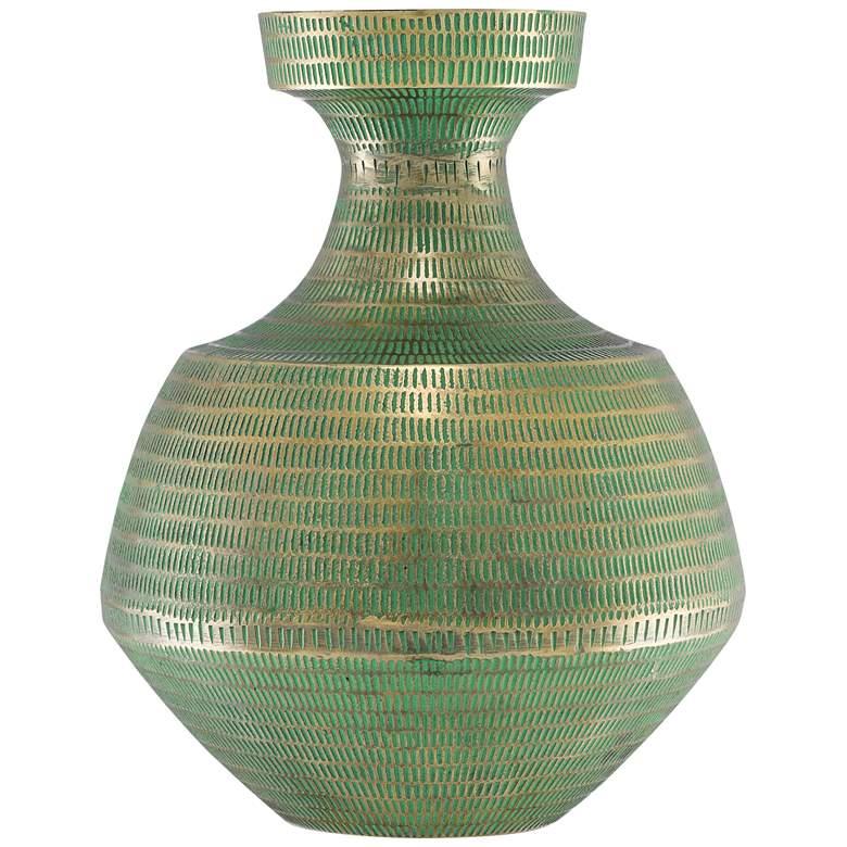 "Nallan Antique Brass and Green 13 3/4"" High Metal Vase"