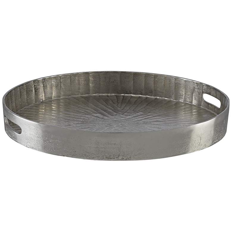 """Currey and Company Luca Silver 20 1/2"""" Round Metal Tray"""